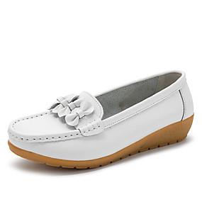 voordelige Damesinstappers & loafers-Dames Loafers & Slip-Ons Sleehak Ronde Teen Leer / Tissage Volant Informeel / minimalisme Herfst winter Zwart / Wijn / Lichtblauw / Kleurenblok