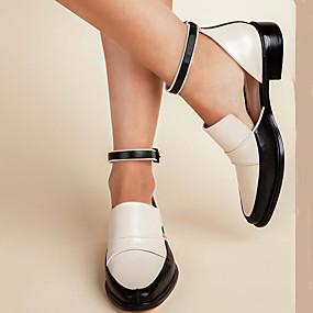 voordelige Damesschoenen met platte hak-Dames Platte schoenen Blok hiel Gepuntte Teen PU Vintage / Informeel Lente & Herfst / Lente zomer Zwart / Wit / Feesten & Uitgaan
