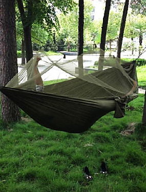 cheap Sports & Outdoors-Camping Hammock with Mosquito Net Double Hammock Outdoor Portable Breathable Ultra Light (UL) Parachute Nylon with Carabiners and Tree Straps for 2 person Hunting Fishing Hiking Gray+Blue Camouflage