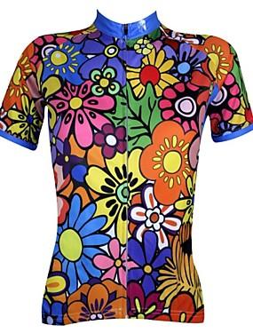 povoljno Sport és outdoor-ILPALADINO Žene Kratkih rukava Biciklistička majica Duga Plava Blue Green + Cvjetni / Botanički Veći konfekcijski brojevi Bicikl Biciklistička majica Majice Prozračnost Quick dry Ultraviolet Resistant