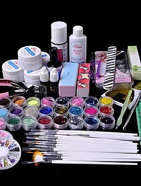 voordelige Nagelborstels-61pcs glitter uv gel cleanser primer nail art kit set