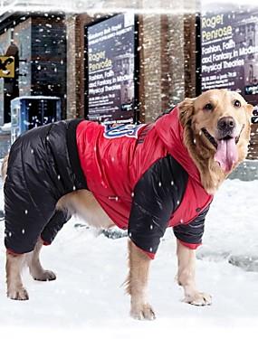 Недорогие Игрушки и хобби-Собака Плащи Одежда для собак Оранжевый Желтый Красный Терилен Хлопок Костюм Назначение Зима Муж. Жен. Водонепроницаемый