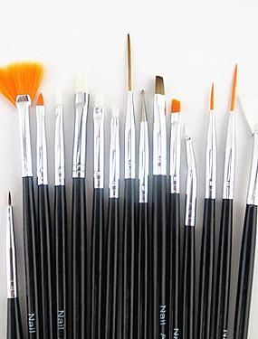 voordelige Nagelborstels-15pcs zwart handvat nail art design schilderij tekenpen borstel set&5pcs 2-weg puntjes marbleizing pen