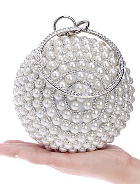 ieftine More-Pentru femei Genți Poliester Geantă Seară Imitație de Perle / Cristale / Strasuri Metalic Alb