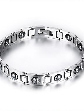 voordelige ID Armband-Heren Armbanden met ketting en sluiting Titanium Staal Armband sieraden Zilver Voor Dagelijks Causaal