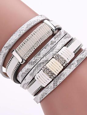 voordelige Wikkelarmband-Dames Wikkelarmbanden Lederen armbanden Meerlaags stapelbaar Dames Bohémien Europees Modieus Boho Leder Armband sieraden Wit / Bruin / Groen Voor Feest Dagelijks Causaal