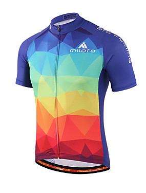 cheap Sports & Outdoors-Miloto Men's Women's Short Sleeve Cycling Jersey - Blue+Red Gradient Plus Size Bike Shirt Sweatshirt Jersey Breathable Quick Dry Reflective Strips Sports 100% Polyester Mountain Bike MTB Road Bike