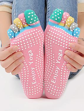 billige Sport og friluftsliv-Dame Yoga Socks Pustende Anvendelig Anti-Skride Til Ballett Pilates Dans - 1 par Bomull gummi Fargeblokk Mote