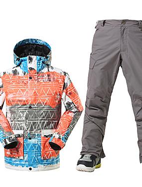 رخيصةأون رياضة والخارجية-GSOU SNOW رجالي جاكيت وبنطلون للتزلج مقاوم للماء الدفء ضد الهواء التزلج الرياضات الشتوية بوليستر مجموعات الثياب ملابس التزلج / متنفس / الشتاء / متنفس