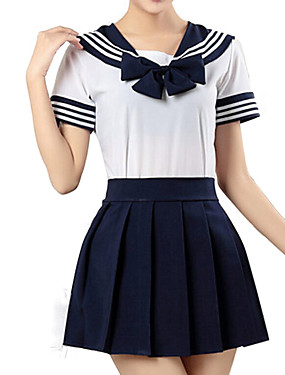 """billige Leker og hobbyer-Inspirert av Sailor Moon skole~~POS=TRUNC Anime  """"Cosplay-kostymer"""" Japansk Cosplay Klær Stripet Kortermet Trøye / Skjørte Til Jente"""