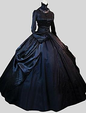 halpa Lelut ja harrasteet-Prinsessa Gothic Lolita Satiini Party Prom Naisten Mekot Cosplay Musta Tanssiaismekko Runoilija Pitkähihainen Nilkkapituinen Pluskoko Räätälöidyt Puvut