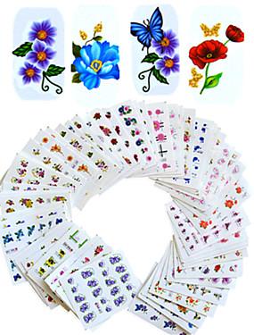 billige Neglesæt-1set 55pcs Klistermærker & Tape / Vandoverførings klistermærke Blomst / Negle Dekaler / Nail Art DIY værktøj tilbehør Klistermærker