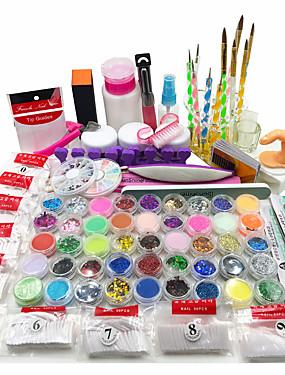 billige Neglesæt-nail art kit akryl pulver flydende glitter uv gel lim tips børste sæt