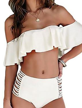 ieftine federova-Pentru femei Bufantă De Pe Umăr Alb Negru Roz Îmbujorat Bustieră Fașă Elastică Talie Înaltă Bikini Costume de Baie - Mată Bufantă Cu Șiret M L XL Alb / Sexy