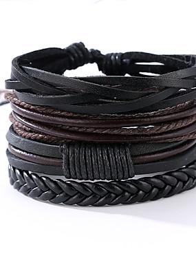 voordelige Korting Sieraden-4PCS Heren Wikkelarmbanden Lederen armbanden Touw Vintage Punk Leder Armband sieraden Zwart Voor Vuosipäivä Lahja Sport mielitietty