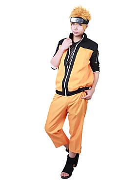 """billige Leker og hobbyer-Inspirert av Naruto Naruto Uzumaki Anime  """"Cosplay-kostymer"""" Japansk Cosplay Klær Lapper Langermet Frakk / Bukser Til Herre / Dame"""