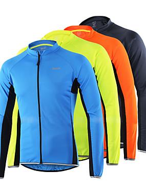 povoljno Sport és outdoor-Arsuxeo Muškarci Dugih rukava Biciklistička majica žuta Svjetlo žuta Sivo crna Bicikl Biciklistička majica Majice Reflektirajuće trake Sportski 100% poliester Brdski biciklizam biciklom na cesti