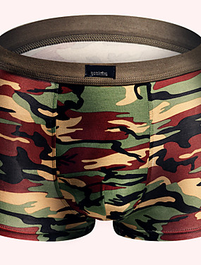 abordables Ropa Interior y Calcetines de Hombre-Hombre Súper Sexy Boxers Cortos - Estampado, camuflaje 1 Pieza Verde Ejército L XL XXL