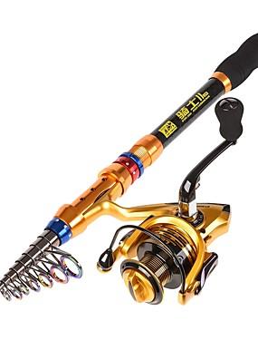 povoljno Sport és outdoor-Štapovi za ribolov + Mulinete de Pescuit Telespin Rod 180/210/240/270/300/360 cm ugljen Kabel na uvlačenje Telescopic Morski ribolov Vrtložno