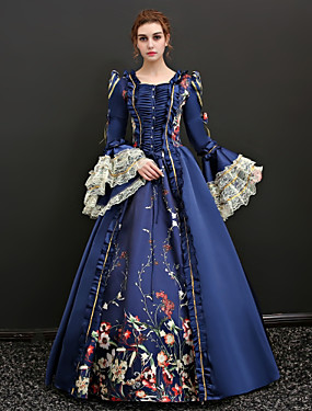 cheap Toys & Hobbies-Queen Victoria Renaissance Costume Women's Dress Outfits Party Costume Masquerade Blue / Red Vintage Cosplay Polyster 3/4 Length Sleeve Puff / Balloon Sleeve Floor Length Long Length Ball Gown Plus