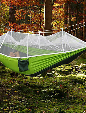 cheap Sports & Outdoors-Camping Hammock with Mosquito Net Outdoor Ultra Light, Portable, Moistureproof, Well-ventilated with Carabiners and Tree Straps Spinning Cotton for 2 person Camping / Hiking / Fishing - Army Green