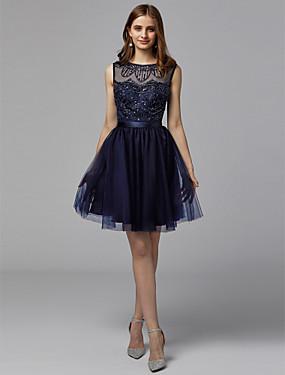 Γραμμή Α Χαμόγελο Κοντό   Μίνι Σατέν   Τούλι Κοκτέιλ Πάρτι Φόρεμα με  Χάντρες με TS Couture® 4400020b71b
