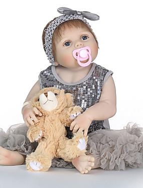 povoljno Igračke i hobiji-NPKCOLLECTION NPK DOLL Autentične bebe Djevojka lutka Za ženske bebe 24 inch Cijeli silikon tijela Vinil - vjeran Dar Sigurno za djecu Non Toxic Umjetna implantacija Plave oči Uvučene i zapečene nokte