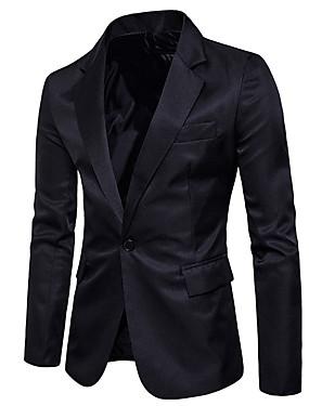 voordelige Weekly Deals-Heren Uitgaan / Weekend Normaal Blazer, Effen V-hals Lange mouw Polyester Leger Groen / Khaki / Marine Blauw