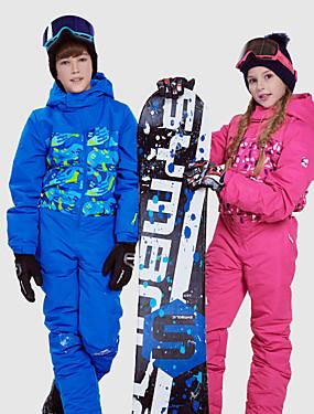 billige Sport og friluftsliv-Phibee Gutt Jente Skidress Vanntett Hold Varm Vindtett Ski & Snowboard Utendørs Trening Freestyle-snowboard Polyester Rom Bomull Vinterjakke Varme bukser Skiklær