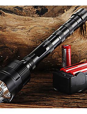 povoljno Sport és outdoor-Trustfire LED svjetiljke LED LED 3 emiteri 3800/3000 lm 5 rasvjeta mode s baterijama i punjačem Podesivi fokus Nonslip grip Kampiranje / planinarenje / Speleologija Uporaba Biciklizam Crn