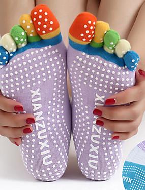 billige Sport og friluftsliv-Dame Yogasokker med knatter Fem Toe Socks Anti-Skride Svettereduserende Antiskli Til Pilates Bikram Stang
