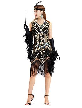 billige Leker og hobbyer-The Great Gatsby Charleston Vintage 1920s Flapper Dress Kjoler Dame Kostume Grønn / Svart+Sølv / Gylden+Svart Vintage Cosplay Palliet Fest Skoleball Ermeløs Medium Lengde