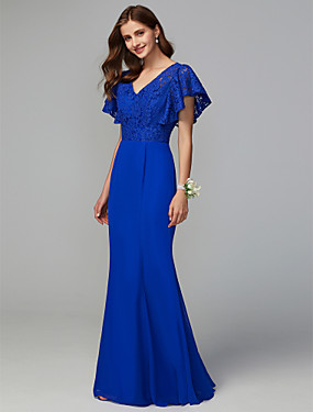 a93b1e10d6e1 Ίσια Γραμμή Λαιμόκοψη V Μακρύ Σιφόν   Δαντέλα Φόρεμα Παρανύμφων με Δαντέλα  με LAN TING BRIDE®