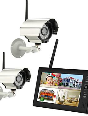 """tanie Ochrona i bezpieczeństwo-Nowa bezprzewodowa 4ch quad dvr 2 kamery z 7 """"TFT-LCD Monitor systemu bezpieczeństwa w domu"""