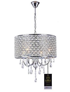 billige Ruxandra Loana-Lightinthebox 4-Light Drum Lysekroner Opplys Krom Metall Krystall 110-120V / 220-240V Varm Hvit Pære ikke Inkludert / E12 / E14