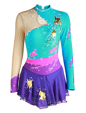 cheap Sports & Outdoors-Figure Skating Dress Women's Girls' Ice Skating Dress Pale Blue Patchwork Spandex High Elasticity Competition Skating Wear Handmade Solid Colored Long Sleeve Ice Skating Figure Skating