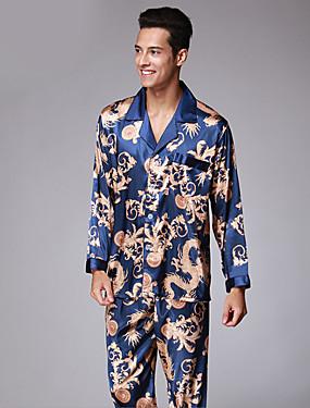 baratos Roupões & Pijamas para Homens-Homens Colarinho de Camisa Conjunto Pijamas Estampa Colorida