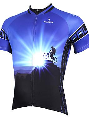 저렴한 스포츠 & 아웃도어-ILPALADINO 남성용 짧은 소매 싸이클 져지 블루 자전거 져지 탑스 통기성 빠른 드라이 자외선 방지 스포츠 폴리에스테르 100% 폴리에스터 테릴린 산악 자전거 로드 사이클링 의류 / 스트레치 / 백 포켓