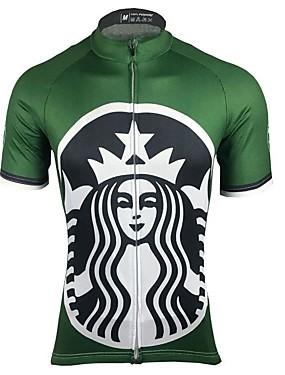 Χαμηλού Κόστους Sport & Outdoor-Ανδρικά Κοντομάνικο Φανέλα ποδηλασίας Πράσινο Ριγέ Ποδήλατο Μπολύζες Γρήγορο Στέγνωμα Anti Transpirație Αθλητισμός Τερυλίνη Ρούχα / Μικροελαστικό / Κατάλληλο για αγώνες / Ιταλία Εισαγόμενα μελάνια