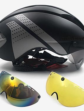 billige Sport og friluftsliv-WILDSIDE Voksne sykkelhjelm Svømming Sykkelhjelm med briller 7 Ventiler ESP+PC EPS sport Sykkel Triatlon Reise - Svart / Sølv Rød / Hvit Svart / Hvit Unisex