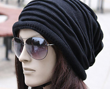 cheap Women's Accessories-Women's Beanie / Slouchy Pleated Street Dailywear Casual Black Brown Pure Color Hat / Fabric / Gray / Fall / Winter