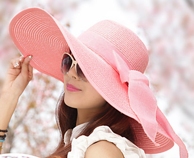 cheap Women's Accessories-Women's Party Hat Bow Party Street Holiday Light Blue Beige Solid Colored Hat / White / Pink / Fall / Winter / Spring