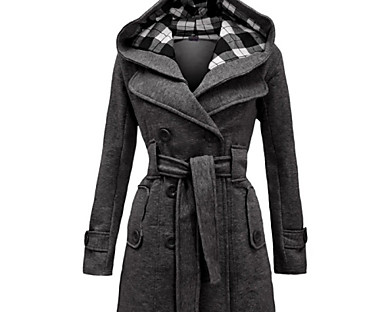 cheap Sale-Women's Coat Fall Winter Daily Going out Long Coat Windproof Warm Regular Fit Chic & Modern Jacket Long Sleeve Classic Style Check Pattern Solid Colored Wine Red Fuchsia
