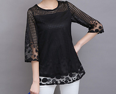 cheap Women's Tops-Women's Plus Size Blouse Shirt Solid Colored Mesh Round Neck Boho Tops White Black Red