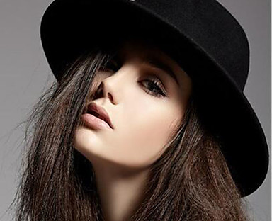 cheap Women's Accessories-Women's Fedora Hat Party Wedding Daily Wine Black Pure Color Hat / Winter / Vintage