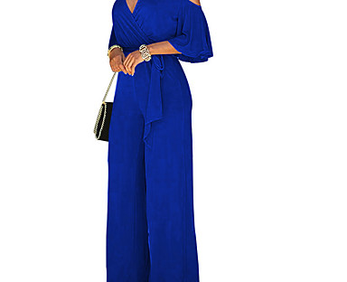 cheap AW 18 Trends-Women's Elegant Casual Off Shoulder Party Wedding Wide Leg Wine Royal Blue Black Jumpsuit Cut Out Solid Color High Waist