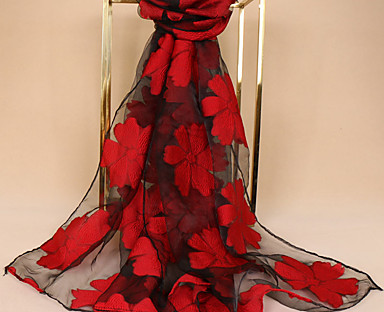 cheap Women's Accessories-Women's Chiffon Scarf Red Party Scarf Floral / Wedding / Casual / Green / Fall / Winter
