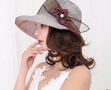 cheap Women's Accessories-Women's Party Hat Flower Lace Party Wedding Street Beige Purple Solid Colored Hat / Fabric / Fall / Winter / Spring / Summer