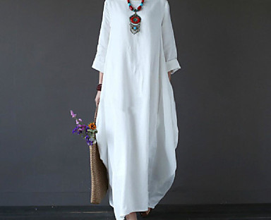 cheap AW 18 Trends-Women's Swing Dress Maxi long Dress Green White Black Red Light Blue 3/4 Length Sleeve White Solid Color Pocket Fall Spring Boat Neck Casual Vintage Holiday 2021 L XL XXL 3XL 4XL 5XL / Cotton / Loose