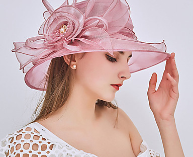 cheap Women's Accessories-Women's Party Hat Beaded Ruffle Party Street Holiday Wine Pink Pure Color Hat / Fall / Winter / Spring / Summer / Mesh